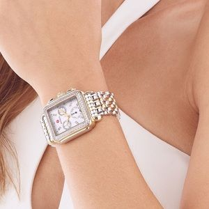 MICHELE MOTHER OF PEARL DECO TWO-TONE WATCH
